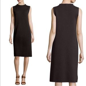 Eileen Fisher brown wool funnel neck sheath dress
